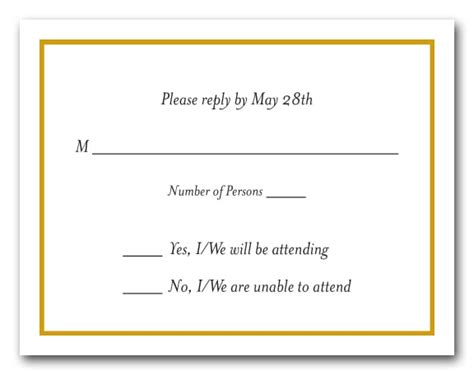 goldenrod border on white rsvp cards reply cards