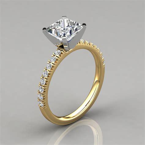 princess cut pave engagement ring 14k gold