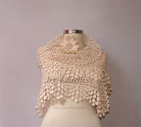 Ivory Bridal Shawl Shrug Bolero Crochet Shawl Wedding Lace
