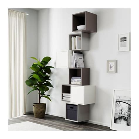 kallax vs eket eket wall mounted cabinet combination white dark grey