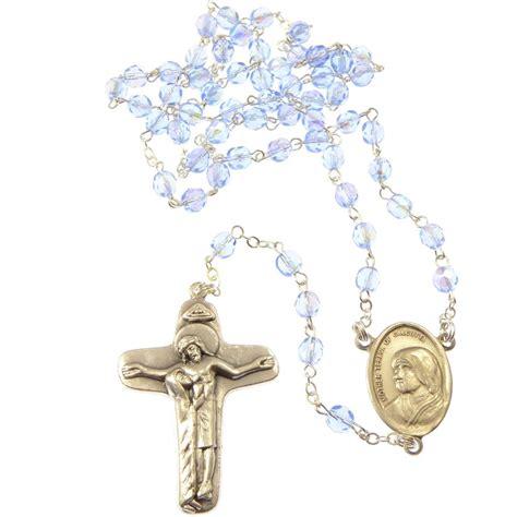 Mather In Velvet blue glass faceted teresa rosary in velvet box