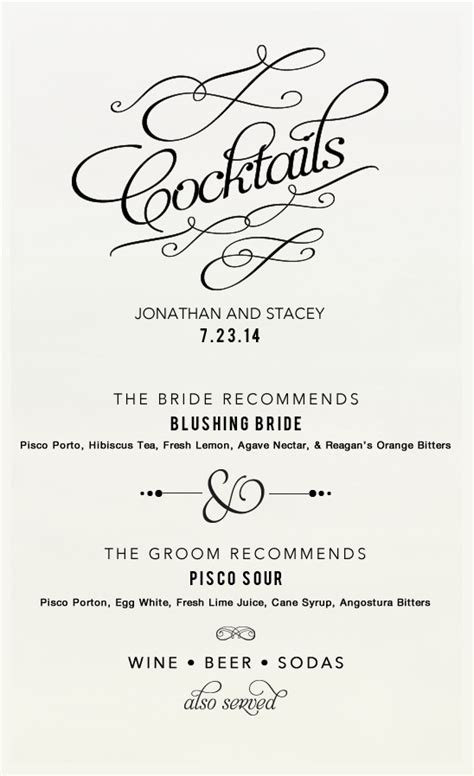 Cocktail Recipes For Signature Wedding Drinks Wedding Drink Sign Template
