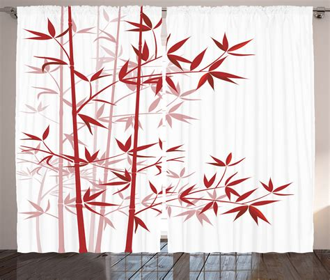 japanese style curtains bamboo tree print asian japanese style decor clean modern