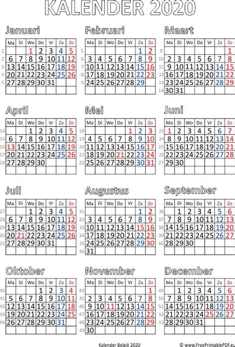 kalender van belgie  gratis printbare