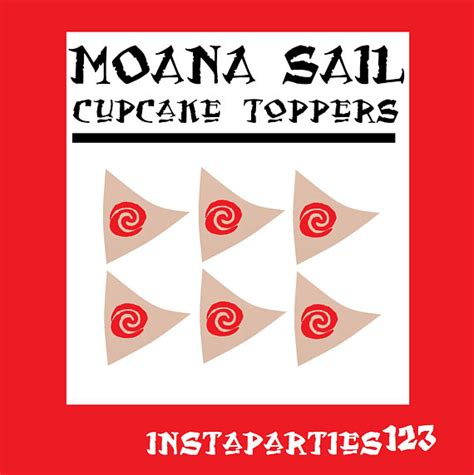 digital red swirl on brown sail moana sailboat cup cake topper