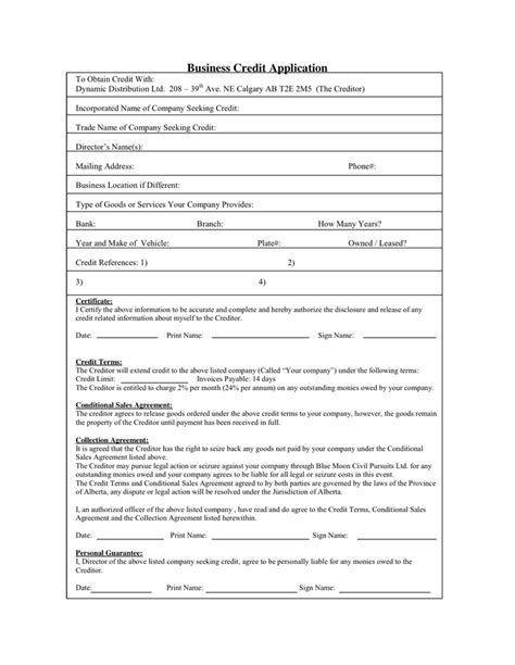 Personal Credit Letter Personal Credit Application In Word And Pdf Formats