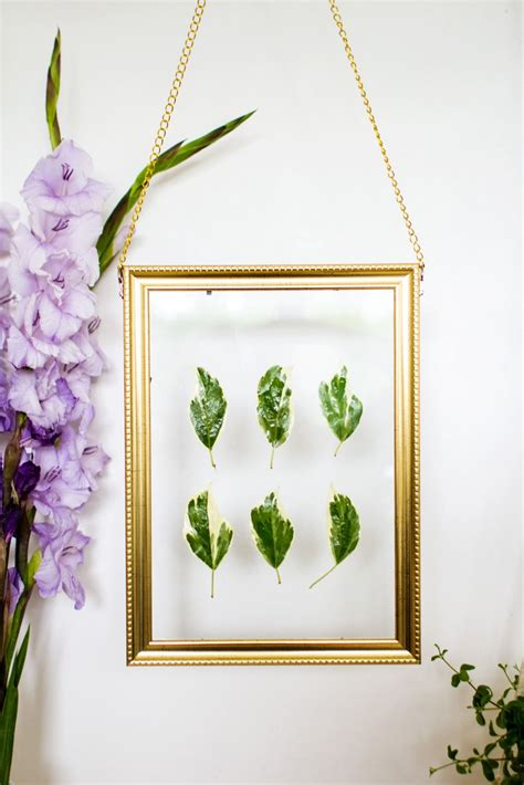 hanging art diy hanging gold frame leaf art