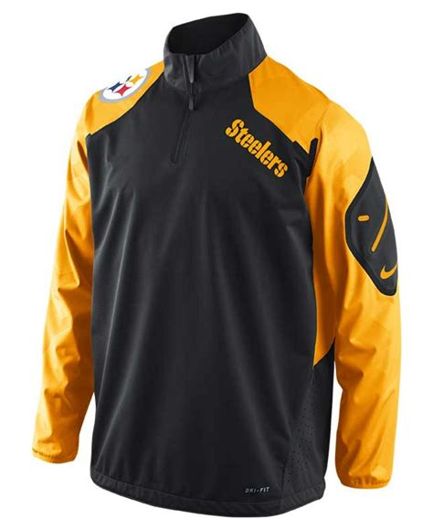 Zipper Nike 02 nike mens pittsburgh steelers halfzip jacket in yellow for