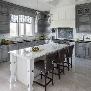 Grey Wash Kitchen Cabinets White Kitchen With Gray Mosaic Cooktop Backsplash Tiles Transitional Kitchen