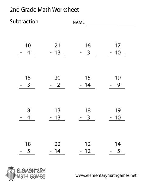 Printable 2nd Grade Worksheets free printable subtraction worksheet for second grade