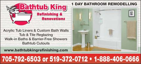 bathtub king refinishing bathtub king refinishing renovations owen sound on 718082 hwy 6 canpages