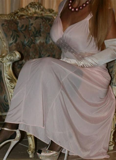 pink nightgown white satin gloves  gold ankle strap