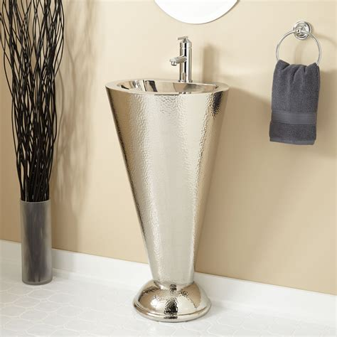 copper sink with stainless steel column nickel plated copper pedestal sink bathroom