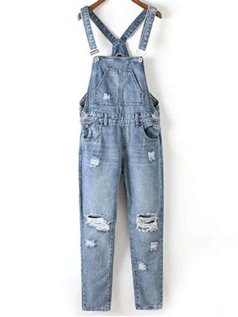 Ripped Denim Overall Shorts wash ripped denim overalls blue xl zaful