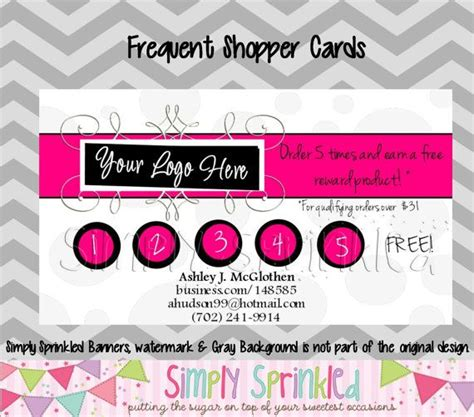 frequent shopper card template business frequent buyer shopper reward card diy by