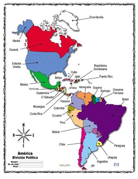 mapa america con division politica mapa de america con division politica nombres y capitales