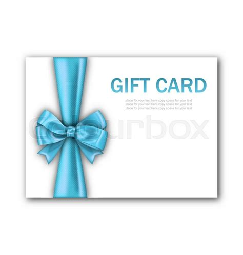 blue card register template illustration decorated gift card with blue ribbon and bow