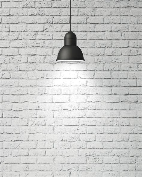 White Concrete Wall by Hanging White Lamp With Shadow On Vintage White Painted