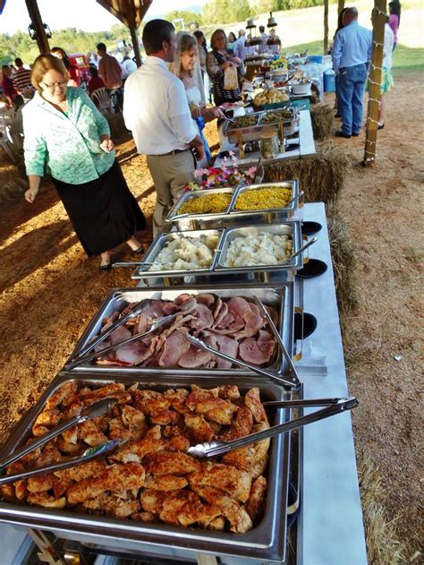 buffet for outdoor country wedding chicken ham mashed
