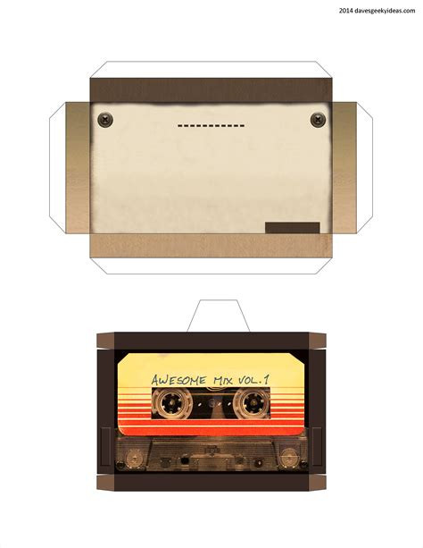 printable star lord walkman guardians of the galaxy cassette player papercraft dave