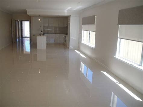 Porcelain Kitchen Floor Tiles Polished Grey Porcelain Floor Like The Combo Of This Floor With The Glossy White Cabinets