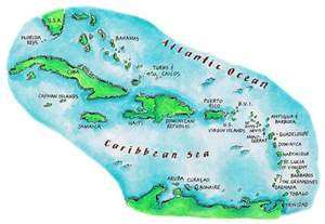 Map of caribbean islands is a piece of digital artwork by jennifer