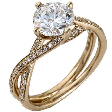 "Simon G. Round Cut ""Twist"" Split Shank Diamond Engagement Ring"