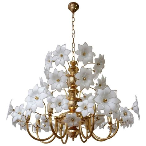 Flower Chandeliers Brass And Murano Glass Flowers Chandelier For Sale At 1stdibs