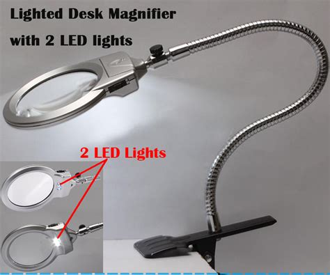 table top magnifying glass with light large lens clip lighted desk magnifier magnifying glass