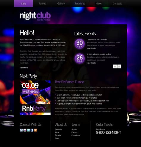 free website template night club