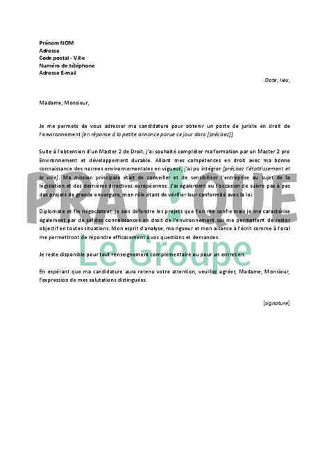 Exemple Lettre De Motivation Juriste Droit Social application letter sle exemple de lettre de motivation