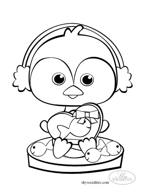 coloring pages of cute things a cute little penguin to color with a valentine gift of