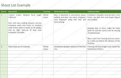 shot list template 6 free shot lists for word and excel 174