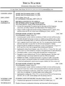 Resume Description Substitute 10 Elementary Education Resume Sle Writing Resume Sle