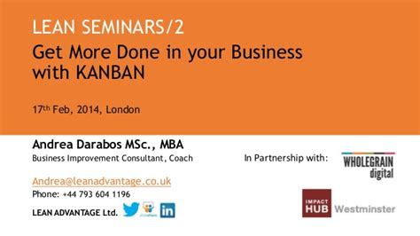 Mba Seminar Topics Ppt by Lean Seminar Get More Done In Your Business With Kanban