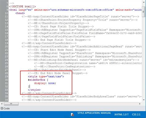 html layout styles sharepoint 2013 inline styles in design manager page