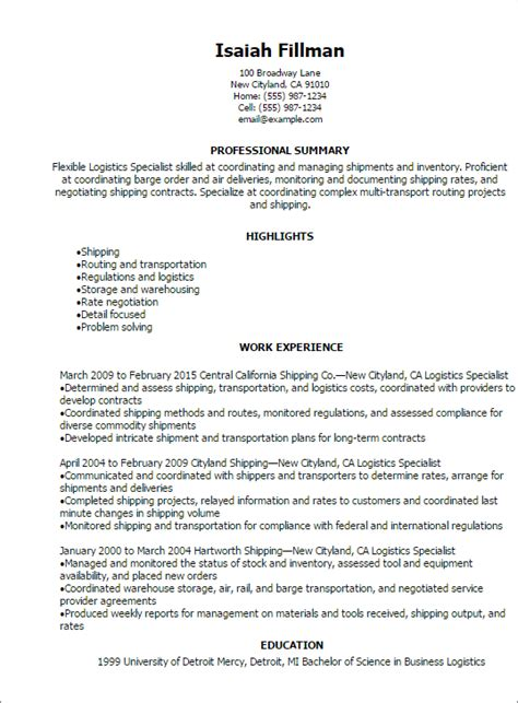 Contract Support Specialist Resume by Professional Logistics Specialist Resume Templates To
