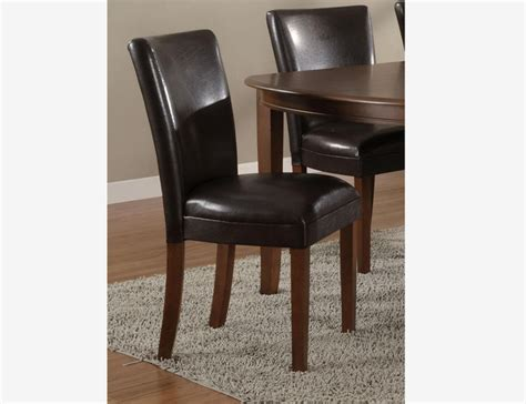 2 brown leather contemporary parson pu restaurant dining 2 pc cherry wood dining parson chairs brown leather seat
