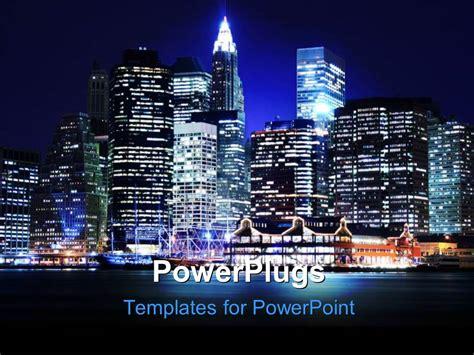 will template new york powerpoint template landscape of lower manhattan new york