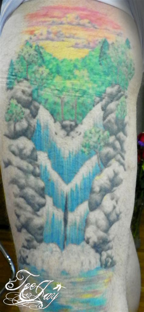 waterfall tattoos rich s waterfall wolf picture at checkoutmyink