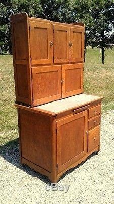 Antique 1900 Hoosier Oak Kitchen Cabinet With Sugar Bin
