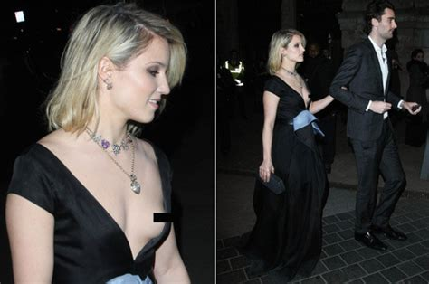 dianna agron suffers nip slip wardrobe malfunction daily