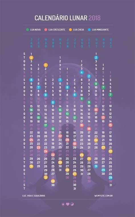 Calendario E Luas Calend 225 Lunar 2018 Datas Das Luas Em 2018 Wemystic