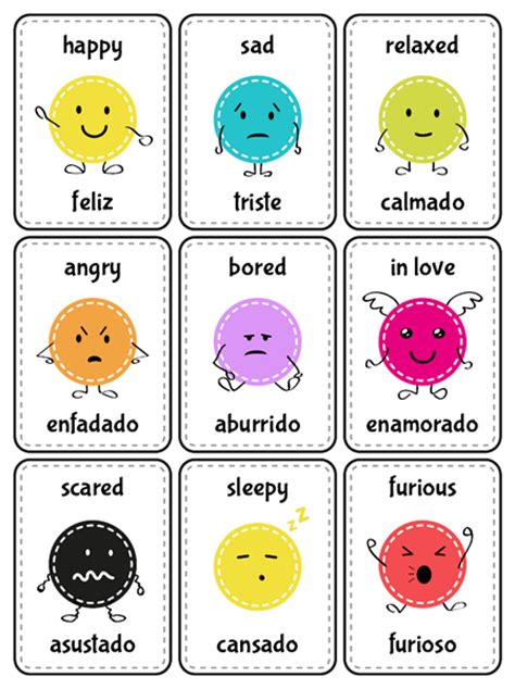 free printable spanish flashcards for toddlers flash cards emotions in english and spanish ingl 233 s