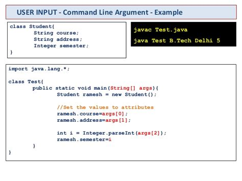 command line pattern java java basics user input data type constructor
