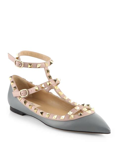 Flats Shoes Valentino 266 4 valentino bicolor rockstud leather cage flats in gray lyst