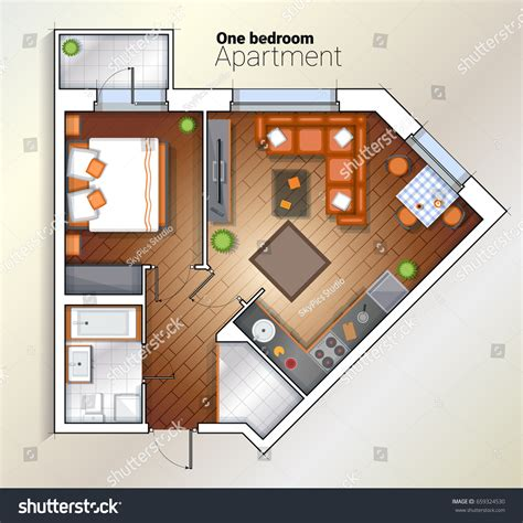 architectural color floor plan furniture top stock vector vector top view color architectural floor stock vector