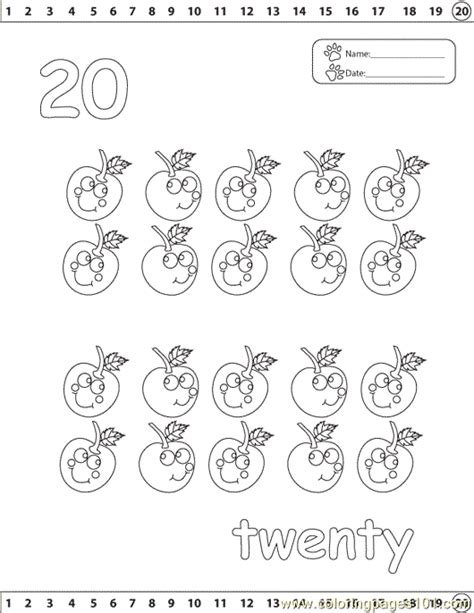 numbers 20 coloring page free numbers coloring pages