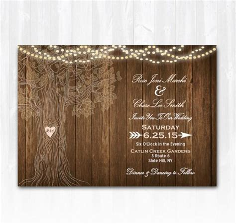 rustic tree card template blank wedding invitation templates trees search