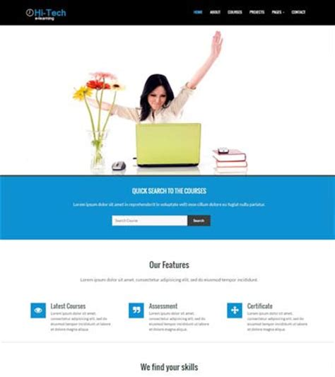 bootstrap templates for institute hitech e learning bootstrap website template
